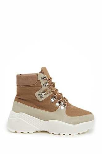 Forever 21 Lace-Up Sneaker Boots  Taupe - GOOFASH