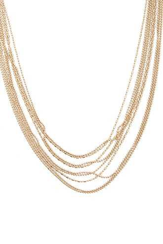 Forever 21 Layered Bead Chain Necklace Gold - GOOFASH