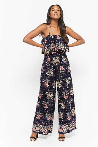 Forever 21 Layered Floral Jumpsuit Navy - GOOFASH