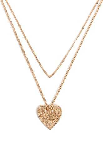 Forever 21 Layered Heart Pendant Necklace  Gold - GOOFASH