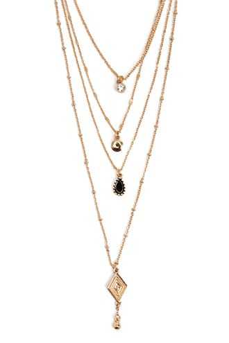 Forever 21 Layered Pendant Necklace  Gold/black - GOOFASH