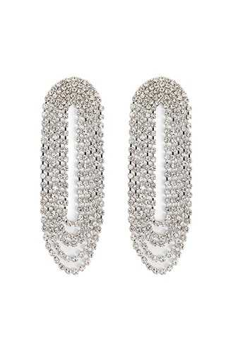 Forever 21 Layered Rhinestone Drop Earrings  Silver/clear - GOOFASH