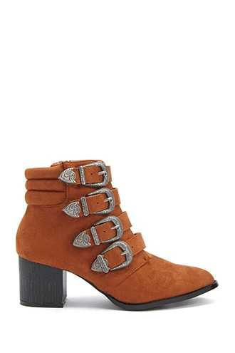 Forever 21 Lemon Drop by Privileged Buckle-Strap Booties  Brown - GOOFASH