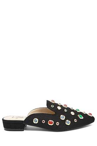 Forever 21 Lemon Drop by Privileged Faux Gem Satin Mules  Black - GOOFASH