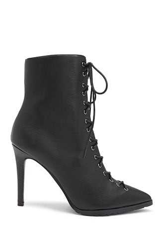 Forever 21 Lemon Drop by Privileged Faux Leather Lace-Up Booties  Black - GOOFASH