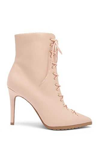 Forever 21 Lemon Drop by Privileged Faux Leather Lace-Up Booties  Nude - GOOFASH