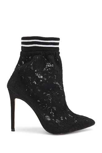 Forever 21 Lemon Drop by Privileged Lace Booties  Black - GOOFASH