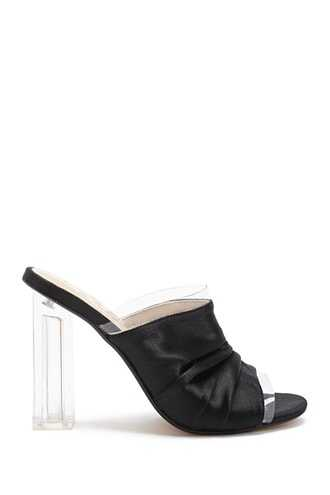 Forever 21 Lemon Drop by Privileged Satin Ruched Mules  Black - GOOFASH
