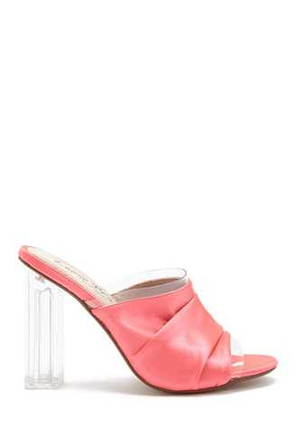 Forever 21 Lemon Drop by Privileged Satin Ruched Mules  Coral - GOOFASH
