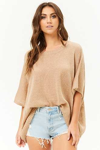 Forever 21 Lightweight Relaxed-Fit Sweater  Taupe - GOOFASH