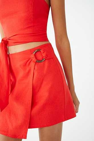 Forever 21 Linen-Blend O-Ring Wrap Skirt Red - GOOFASH