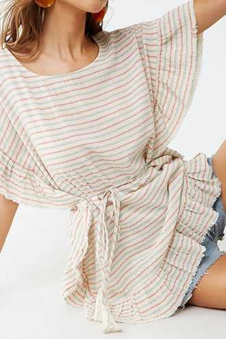 Forever 21 Linen-Blend Striped Tunic  Natural/apricot - GOOFASH