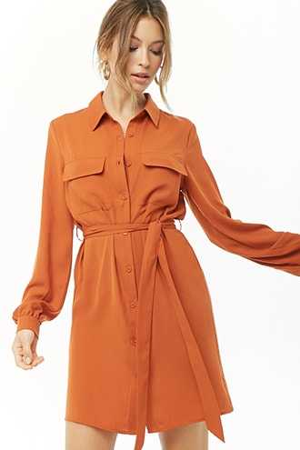 Forever 21 Long Sleeve Shirt Dress  Rust - GOOFASH
