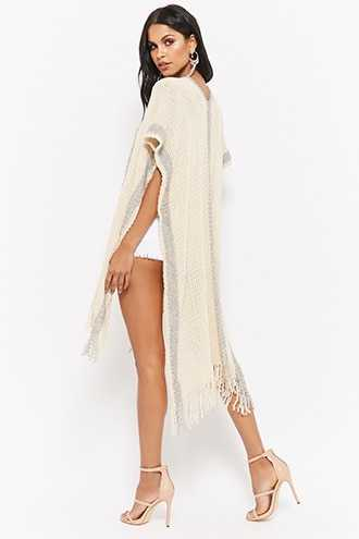 Forever 21 Longline Purl-Knit Poncho  Ivory - GOOFASH