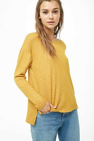 Forever 21 Marled High-Low Top  Mustard - GOOFASH