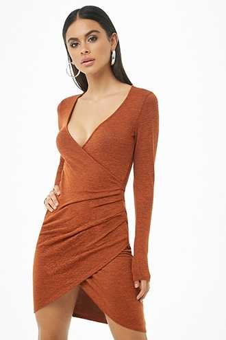 Forever 21 Marled Tulip Dress  Rust - GOOFASH