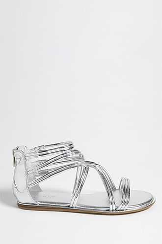 Forever 21 Metallic Faux Leather Caged Sandals  Silver - GOOFASH