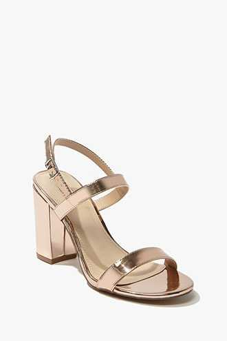 Forever 21 Metallic Faux Patent Leather Heels  Rose Gold - GOOFASH