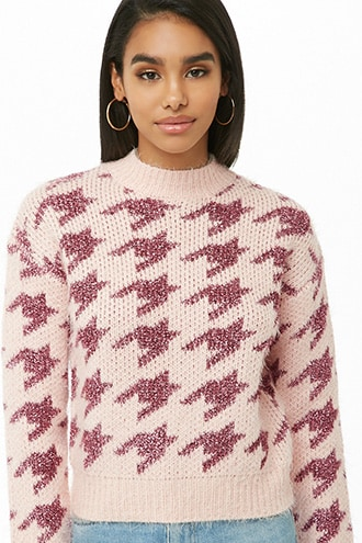 Forever 21 Metallic Houndstooth Knit Sweater Pink/pink - GOOFASH