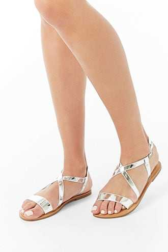 Forever 21 Metallic Open Toe Sandals Silver - GOOFASH