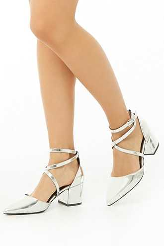Forever 21 Metallic Pointed-Toe Heels  Silver - GOOFASH