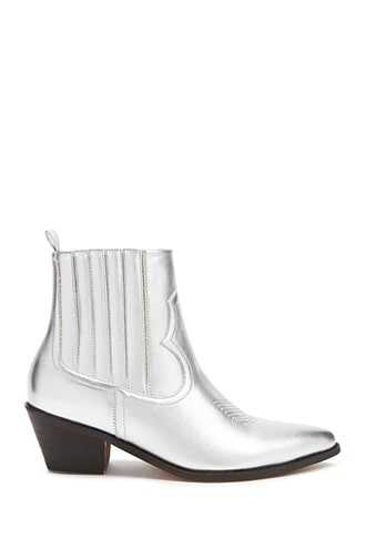 Forever 21 Metallic Western Boots  Silver - GOOFASH
