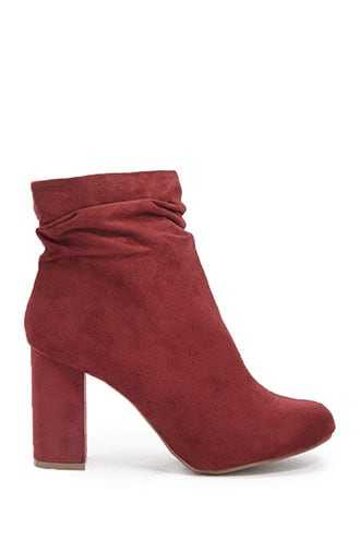 Forever 21 Microfiber Slouchy Booties  Wine - GOOFASH
