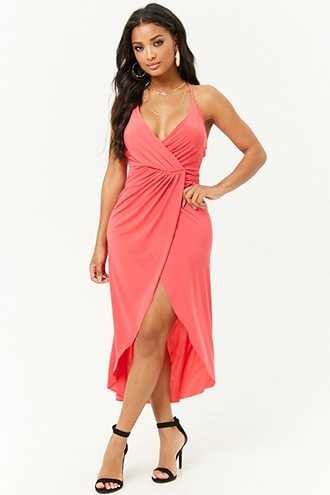 Forever 21 Mock Wrap Cami Dress  Coral - GOOFASH
