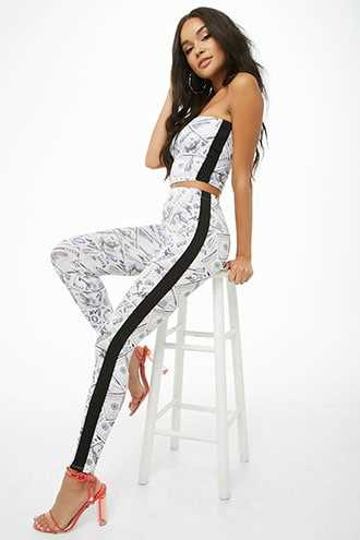 Forever 21 Money Print Tube Top & Leggings Set Ivory/multi - GOOFASH