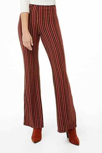 Forever 21 Multicolor Striped Palazzo Pants  Rust/wine - GOOFASH