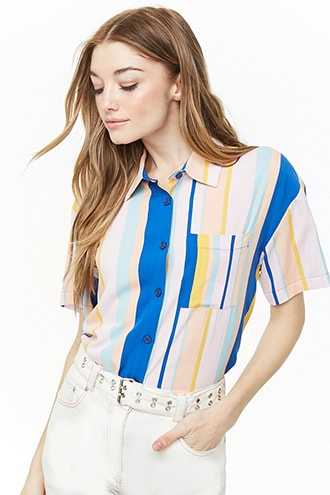 Forever 21 Multicolor Striped Shirt  Pink/blue - GOOFASH