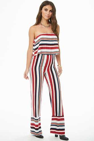 Forever 21 Multistriped Flounce Jumpsuit  Red/multi - GOOFASH