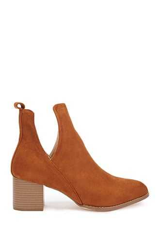 Forever 21 Notched Faux Suede Ankle Booties  Tan - GOOFASH