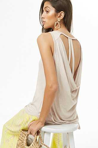 Forever 21 Open Back High-Low Top  Taupe - GOOFASH