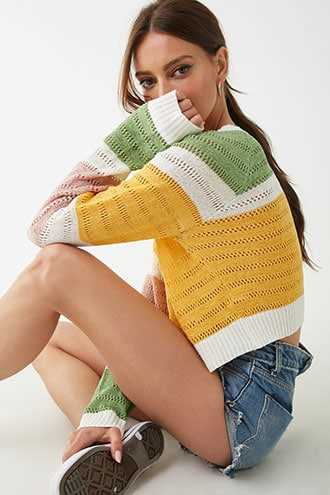 Forever 21 Open-Knit Colorblock Sweater  Green/pink - GOOFASH