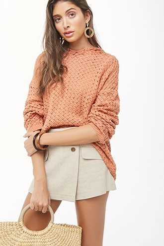Forever 21 Open-Knit Hooded Sweater Apricot - GOOFASH
