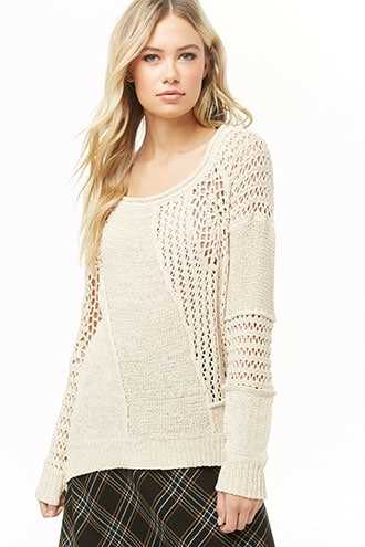 Forever 21 Open-Knit Panel Sweater  Cream - GOOFASH