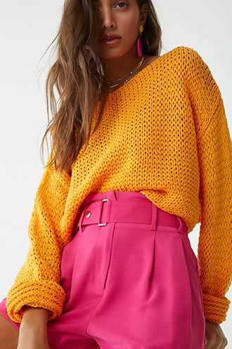 Forever 21 Open-Knit Sweater  Orange - GOOFASH