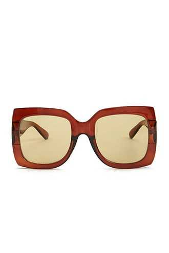 Forever 21 Oversized Square Sunglasses  Brown/brown - GOOFASH