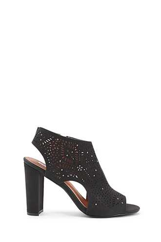 Forever 21 Perforated Chunky Heels Black - GOOFASH
