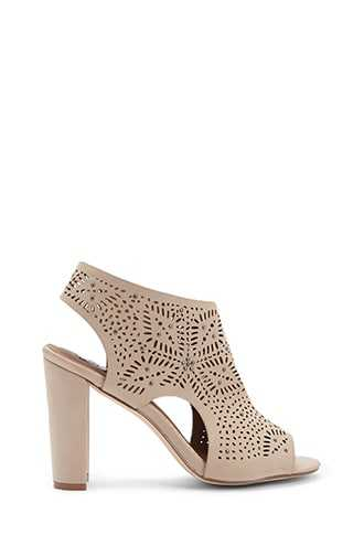 Forever 21 Perforated Chunky Heels  Grey - GOOFASH