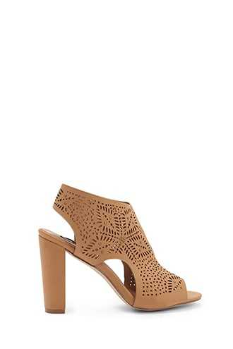 Forever 21 Perforated Chunky Heels  Tan - GOOFASH