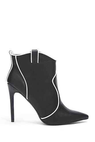 Forever 21 Piped Trim Booties  Black - GOOFASH
