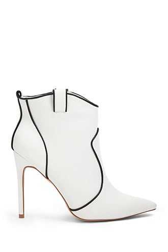 Forever 21 Piped Trim Booties  White - GOOFASH