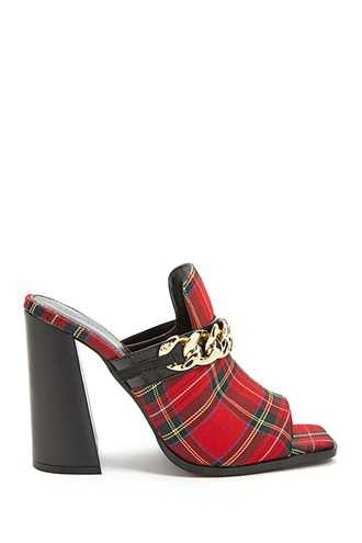 Forever 21 Plaid Curb-Chain Slide Heels  Red/red - GOOFASH