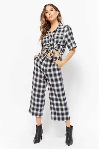 Forever 21 Plaid Tie-Front Jumpsuit  Green - GOOFASH