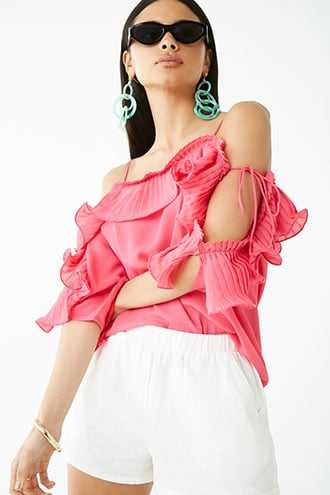 Forever 21 Pleated Ruffle-Trim Top  Pink - GOOFASH