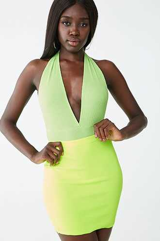 Forever 21 Plunging Ribbed Bodysuit Lime - GOOFASH
