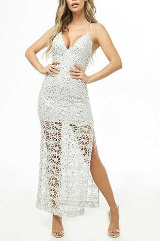 Forever 21 Plunging Sequin Maxi Dress  Silver - GOOFASH