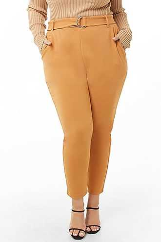 Forever 21 Plus Size Belted High-Rise Pants  Taupe - GOOFASH